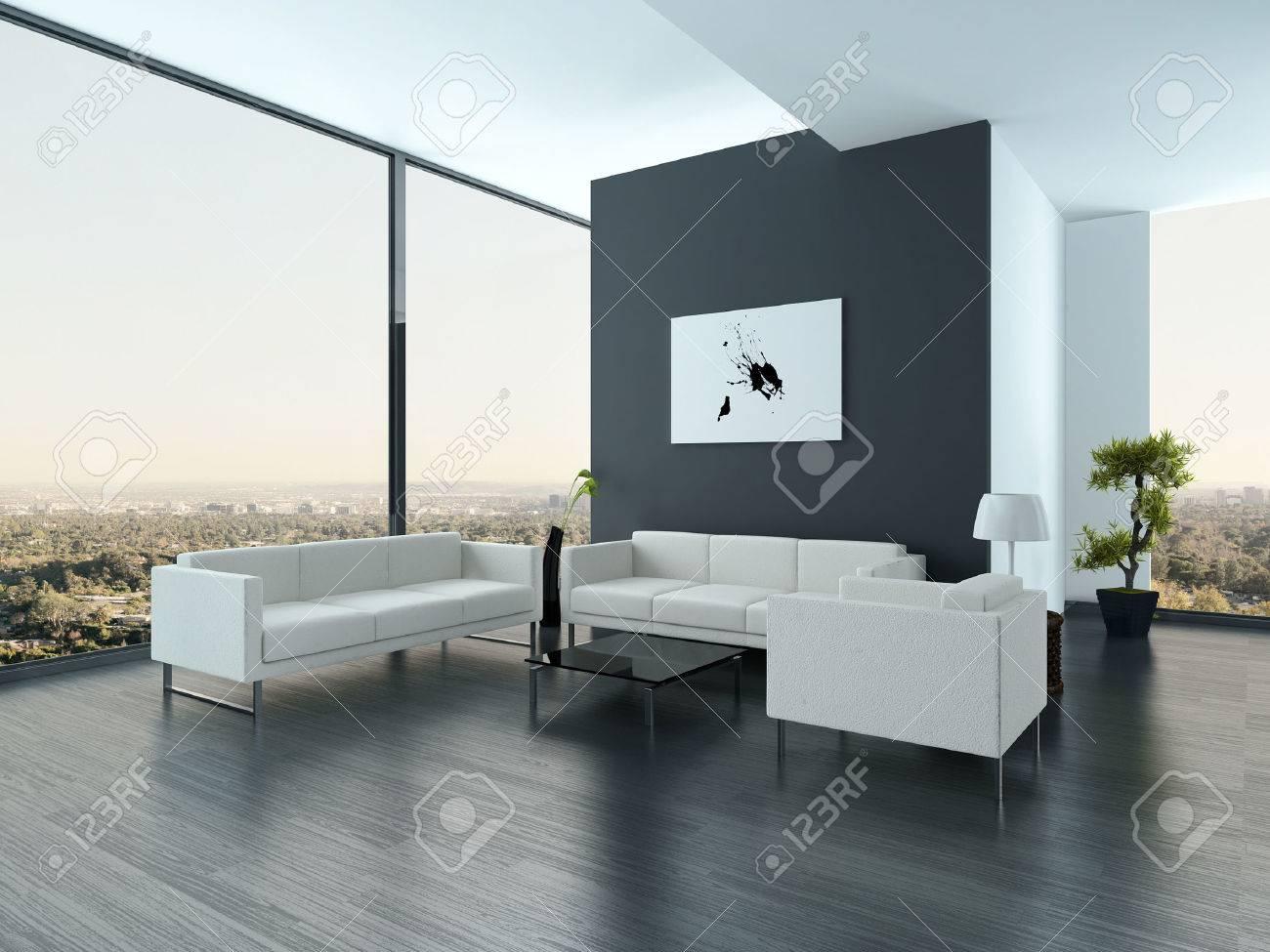 Mooie witte en grijze stijl woonkamer interieur met grote ramen ...