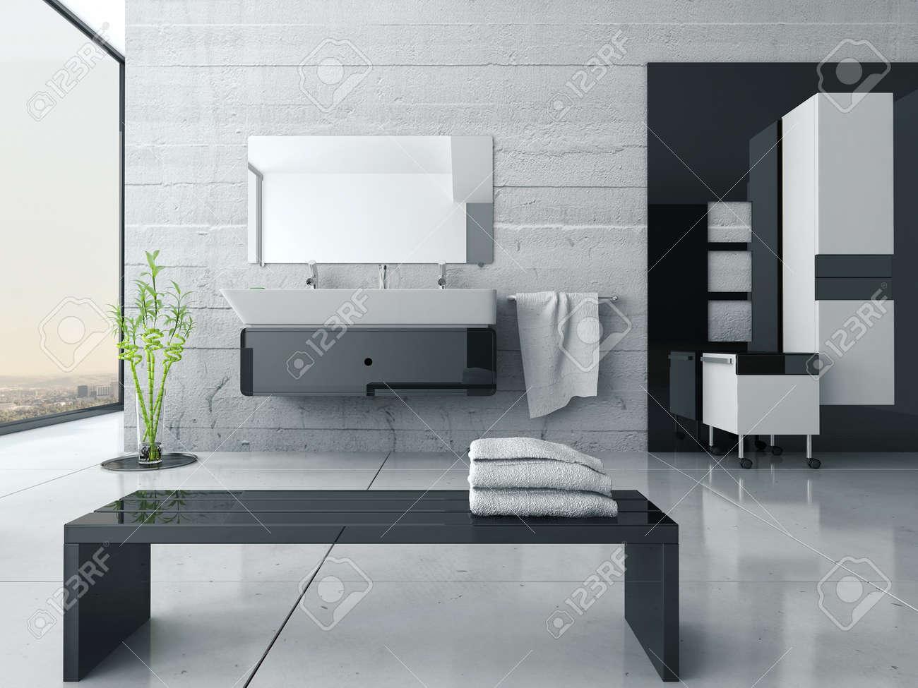 Intérieur moderne de salle de bain noir et blanc