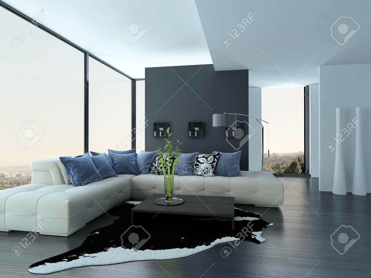Moderne Wohnzimmer Interieur Mit Weißen Couch Mit Blauen Kissen ...
