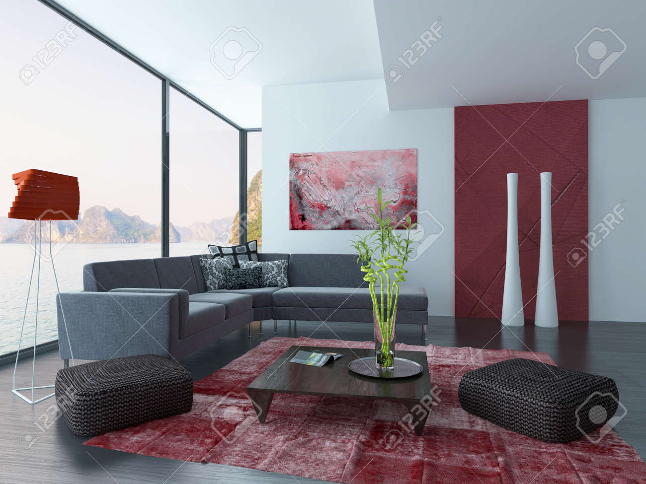 Intérieur moderne salon avec canapé noir et tapis rouge