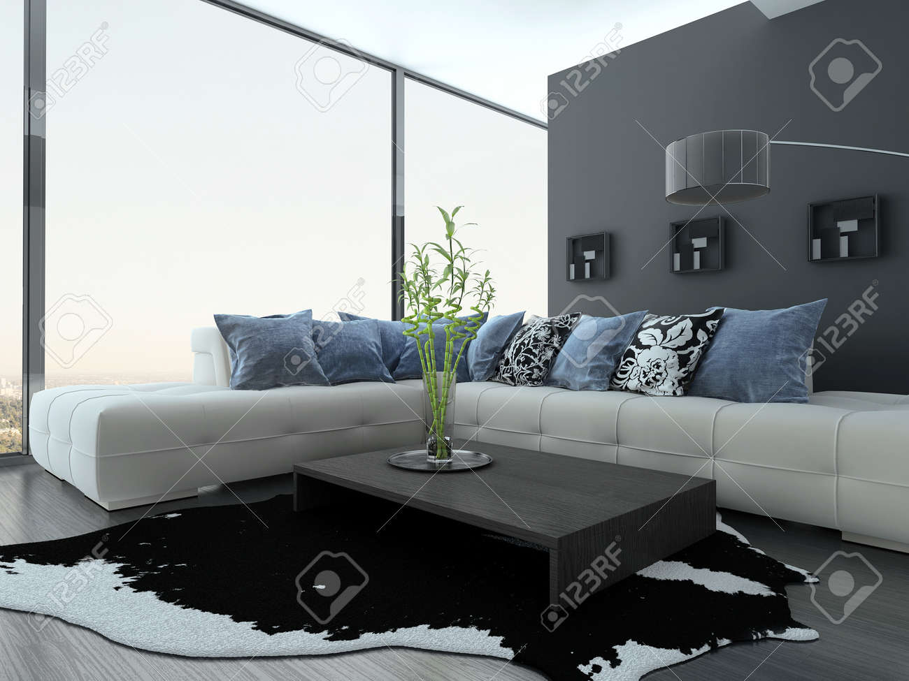 Moderne wohnzimmer interieur mit weißen couch und blauen kissen ...