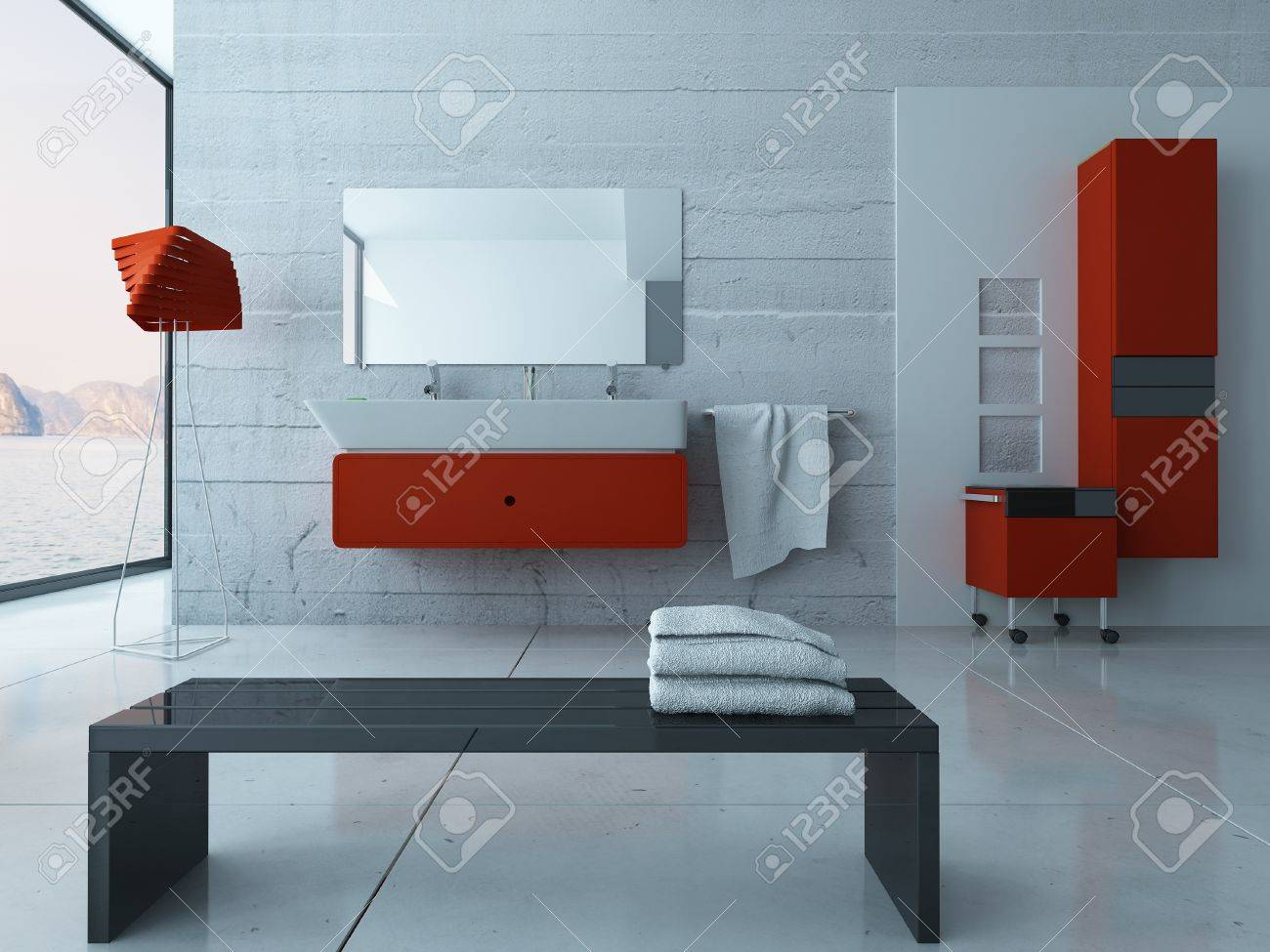 Arredo Bagno Modernissimo.Modernissimo Bagno Interno Con Mobili In Rosso
