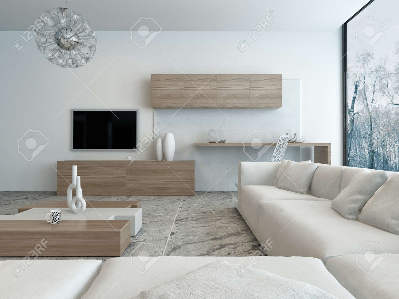 Modern Style Living Room Modern Bright Wooden Style Living Room Interior Stock Photo