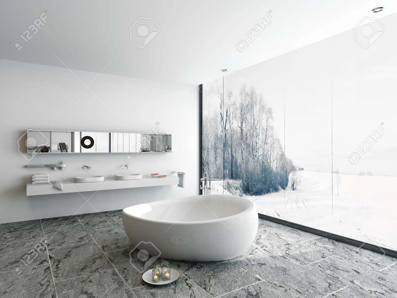 Modern Bathroom Interior With Huge Window Winter Landscape View Stock Photo