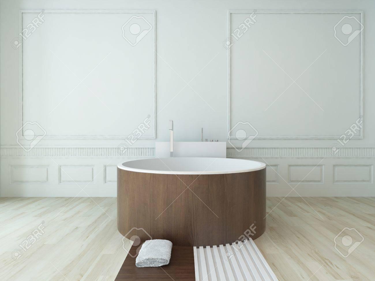 Style moderne baignoire en bois dans une chambre de luxe blanc ...