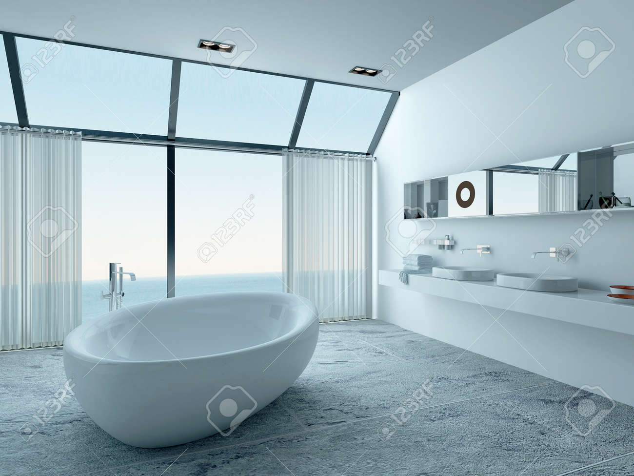 Bathroom Interior With Standalone Bathtub And Seascape View Stock Photo    28747133