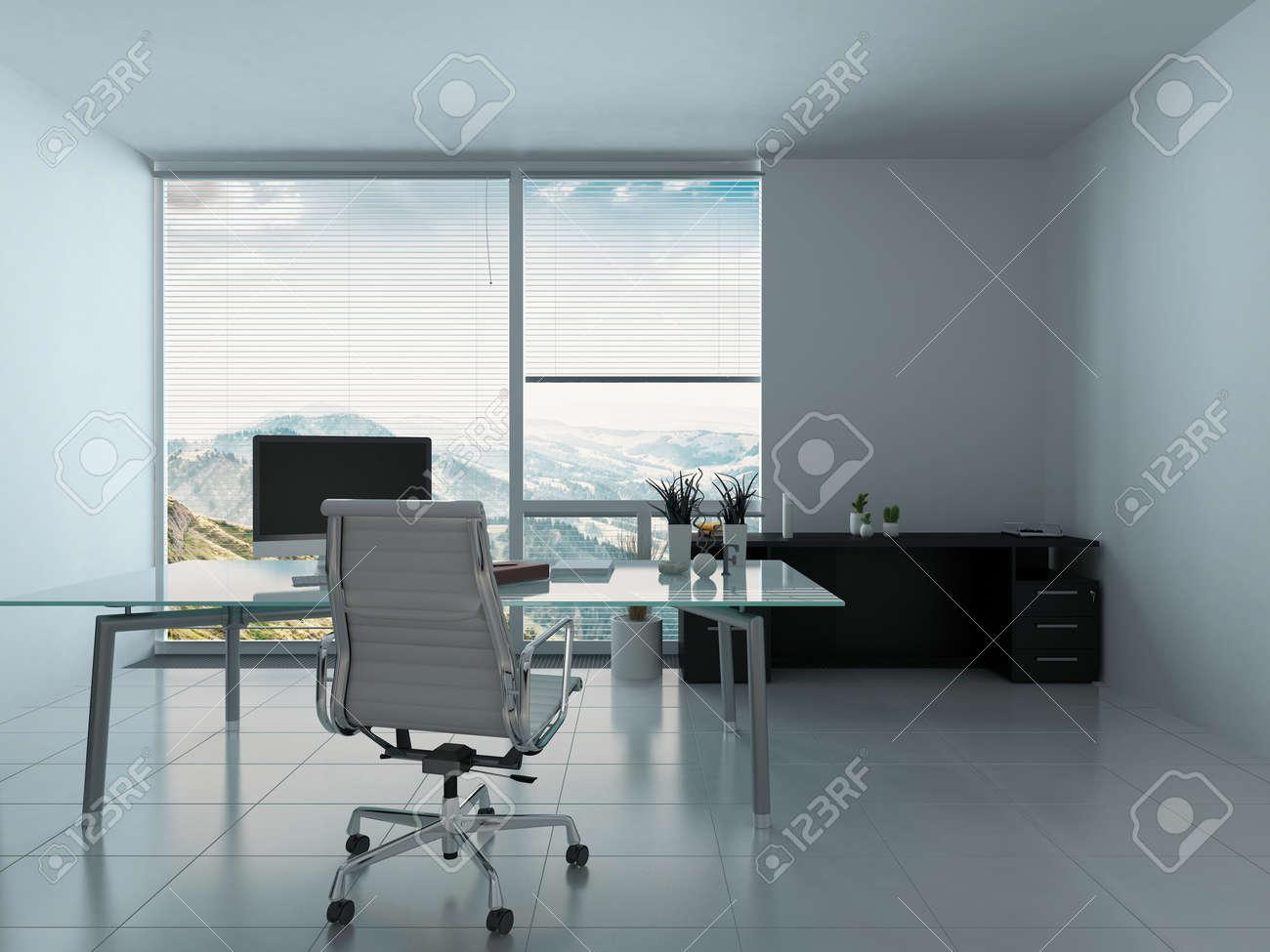 Moderne Büro-Interieur Mit Schreibtisch Und PC Lizenzfreie Fotos ...