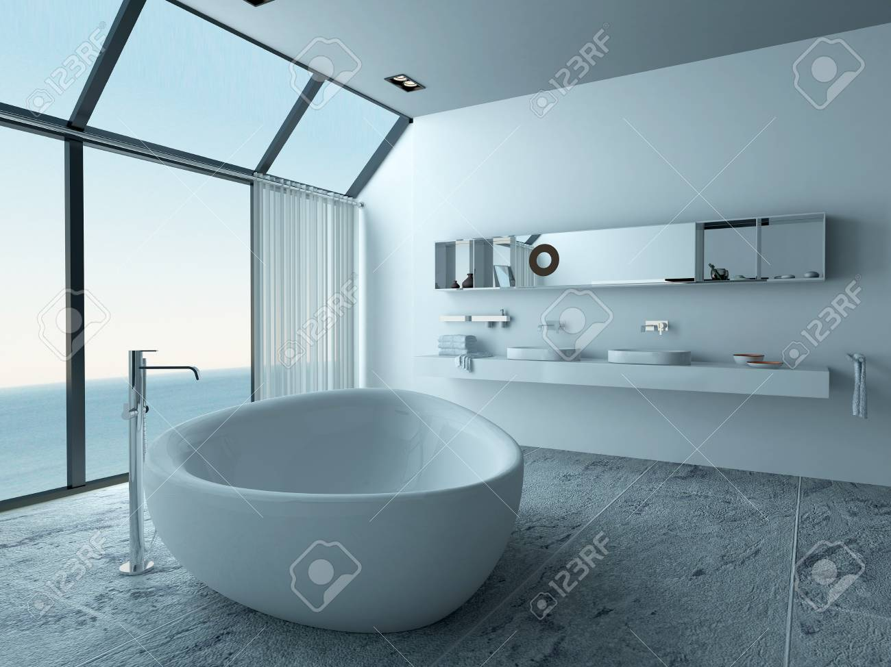 Bathroom Interior With Standalone Bathtub And Seascape View Stock Photo    28747134