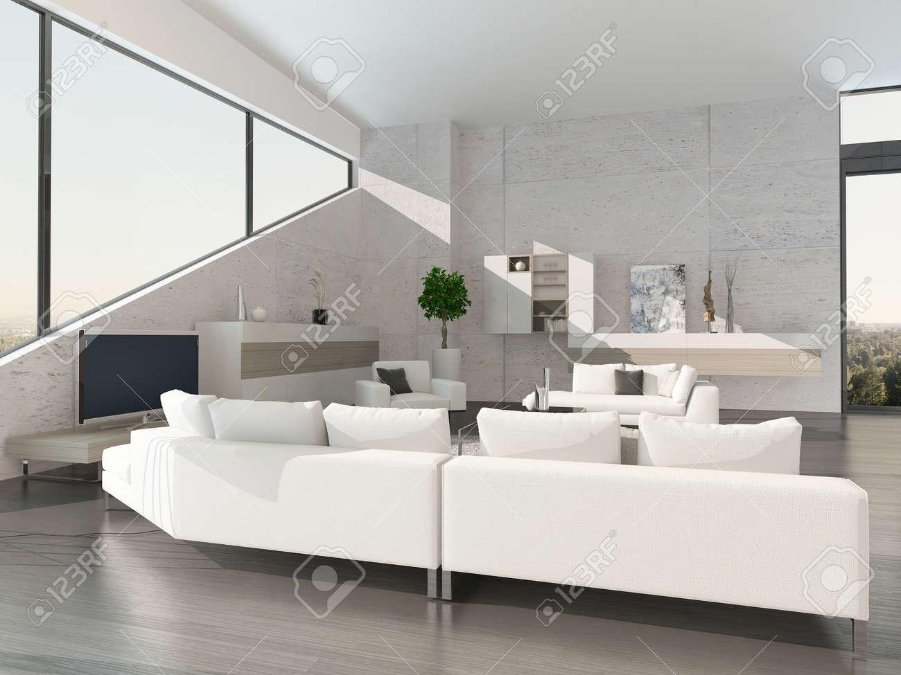 Un Très Bel Intérieur De Salon Moderne Avec Canapé Et Des Chaises ...