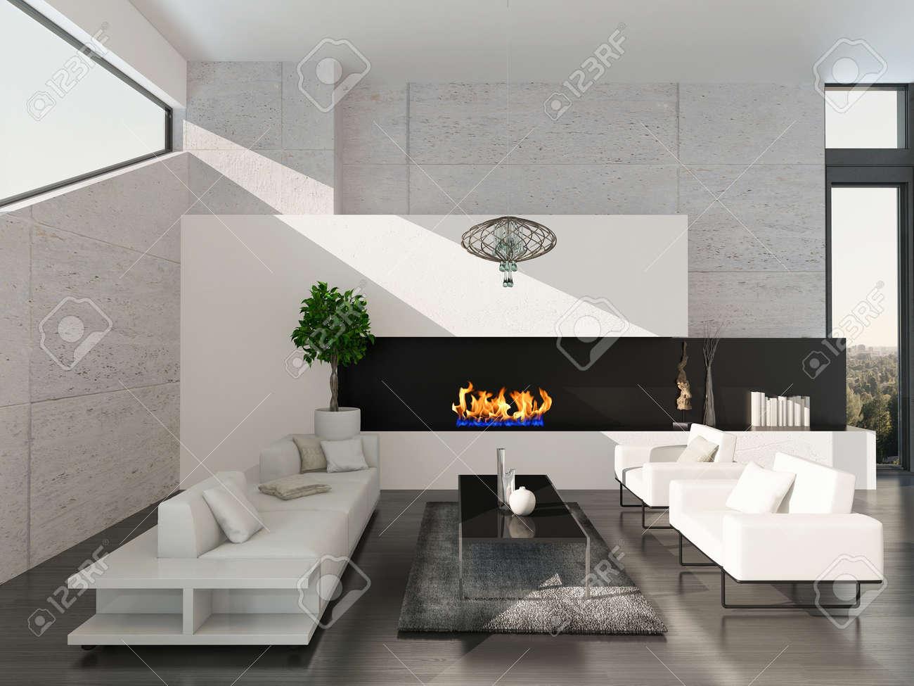Un très bel intérieur de salon moderne avec canapé, fauteuils et cheminée