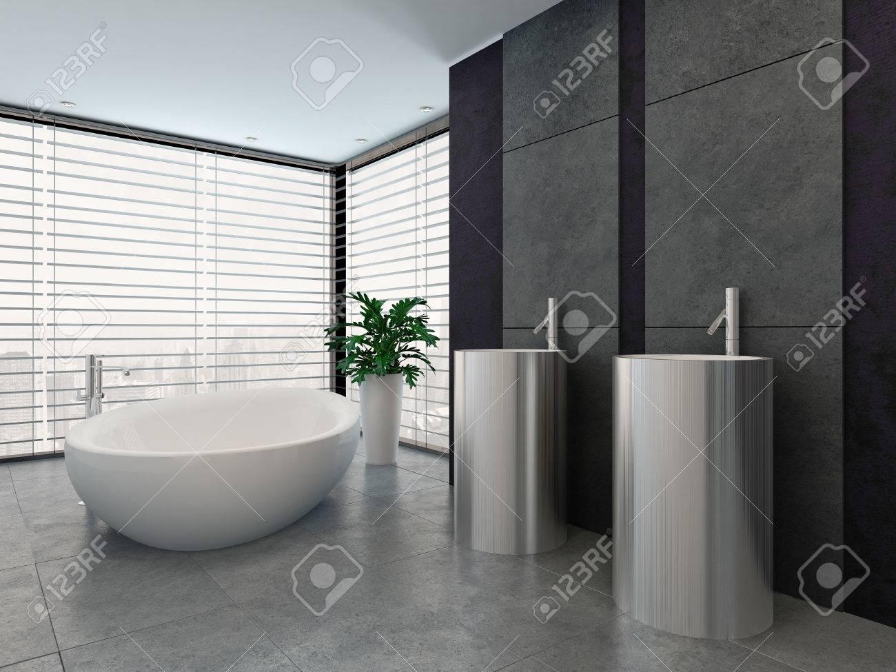 Bathroom Interior With Standalone Bathtub And Two Wash Basins Stock ...