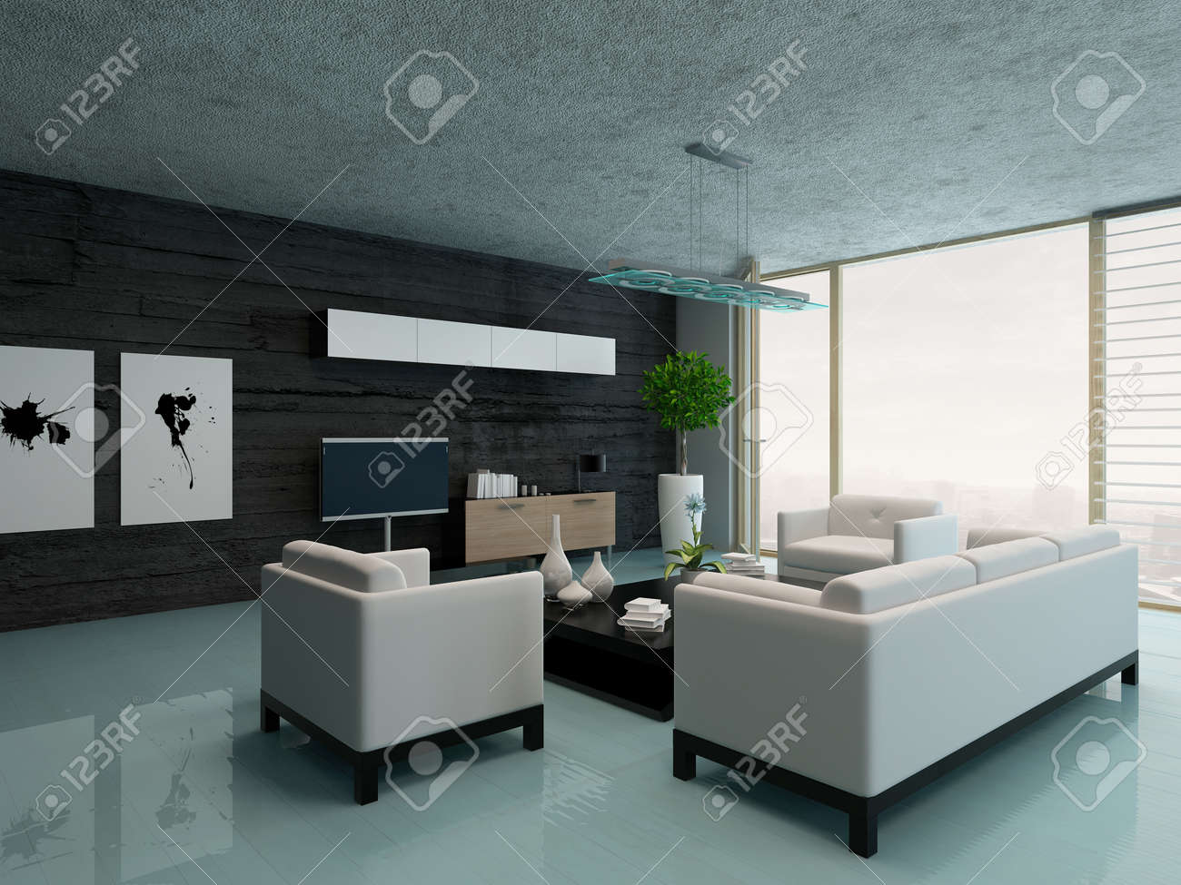 Modernes Design Wohnzimmer Innenraum Lizenzfreie Fotos, Bilder Und ...