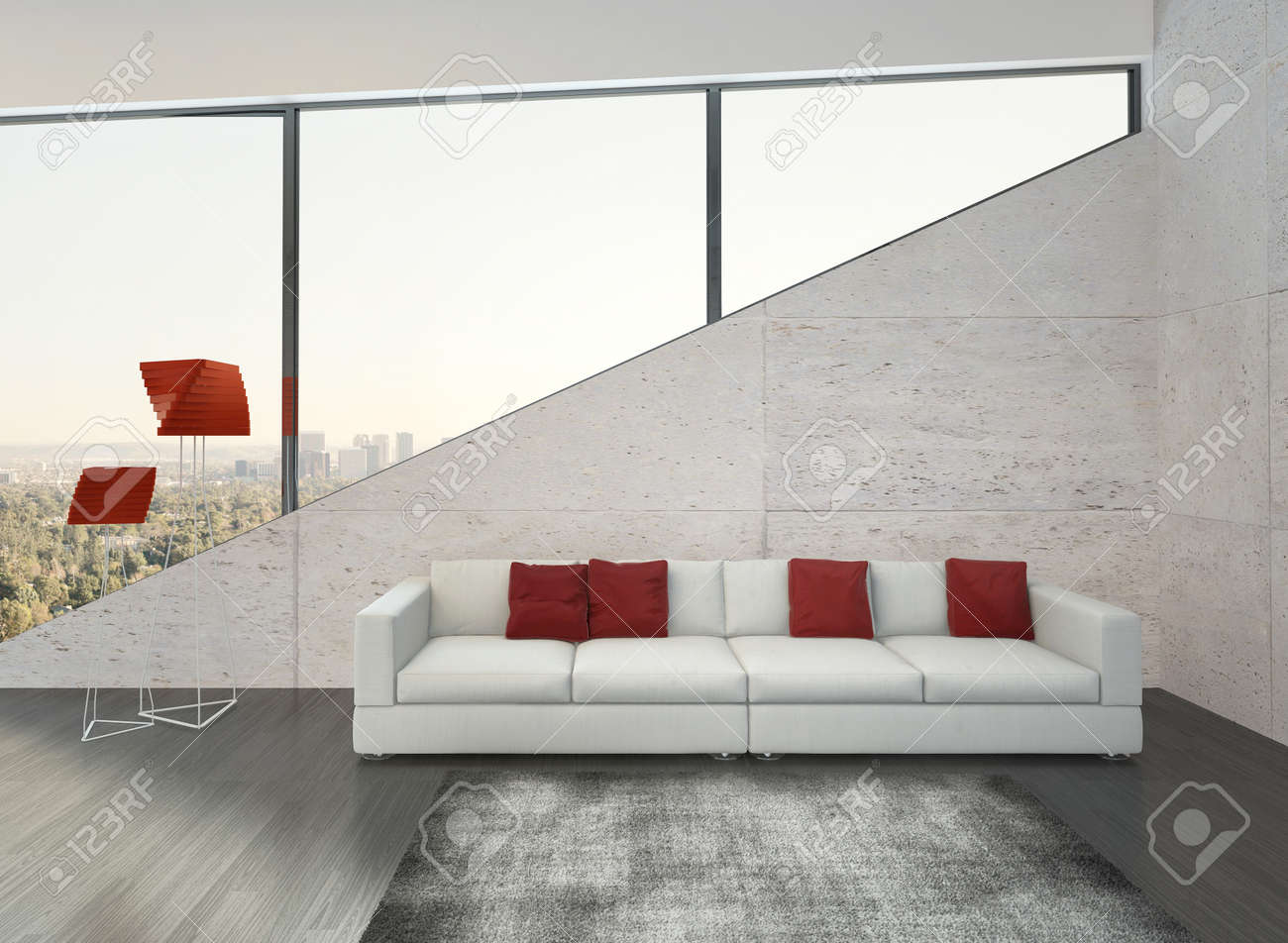 Modern Living Room Interior With White Couch With Red Pillows Stock ...