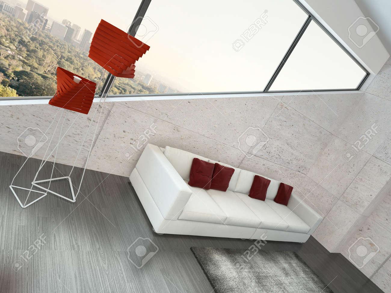 Moderne Wohnzimmer Interieur Mit Weissen Couch Roten Kissen Lizenzfreie Bilder