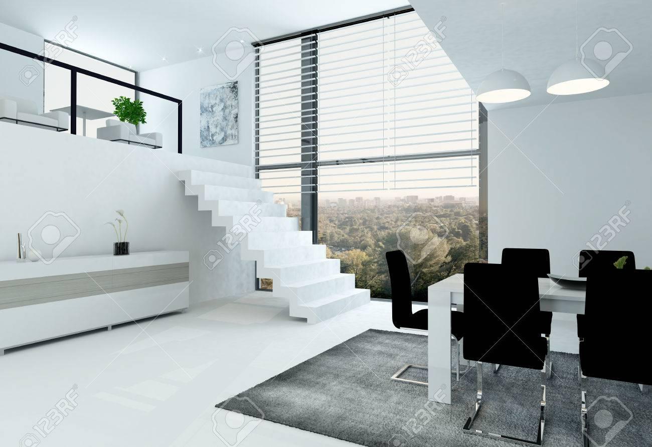 Witte Kamer Interieur Met Mezzanine En Een Eettafel Royalty-Vrije ...