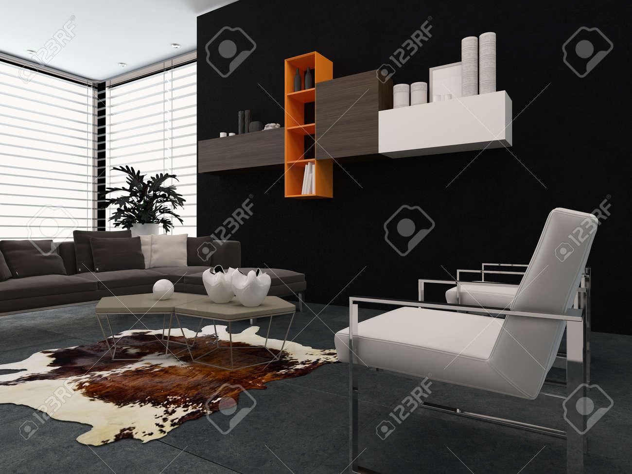 Salon Moderne Avec Des Fauteuils Contemporains, Un Canapé ...