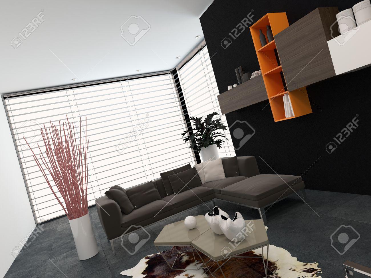 Moderne woonkamer met een glazen muur bedekt door een blinde ...