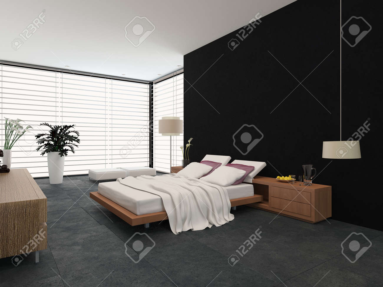 Intérieur chambre moderne avec un décor noir et blanc avec un lit réglable  et lampe standard autonome avec de grandes fenêtres couvertes de stores
