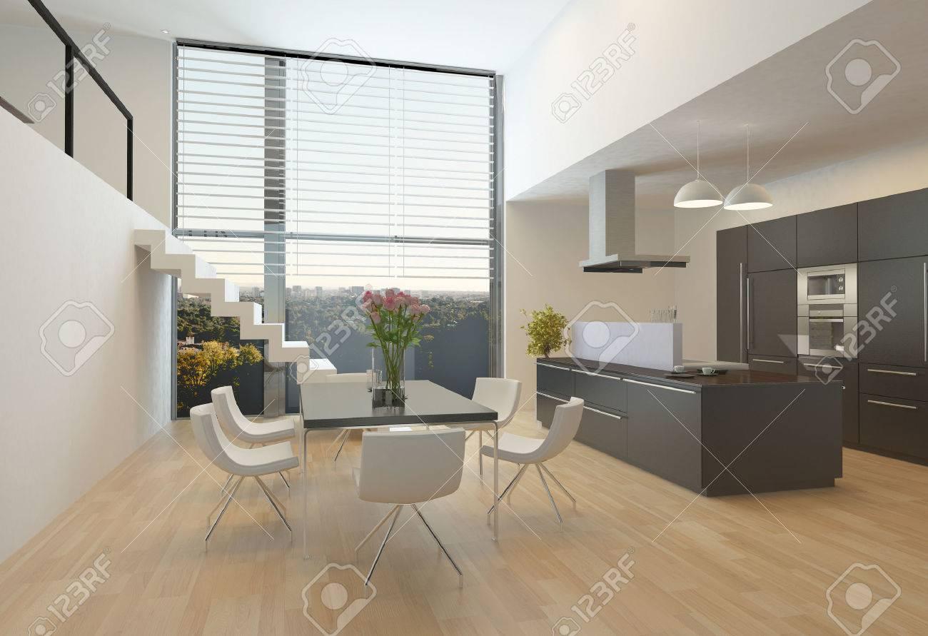 Interior De La Cocina Moderna Con Fogón Central, Unidades De Pared ...