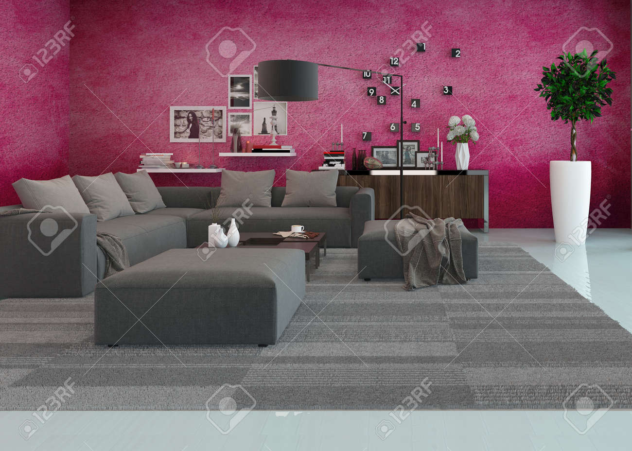 Modern Living Room Interior With A Comfortable Upholstered Lounge Suite Houseplants An Overlay Parquet