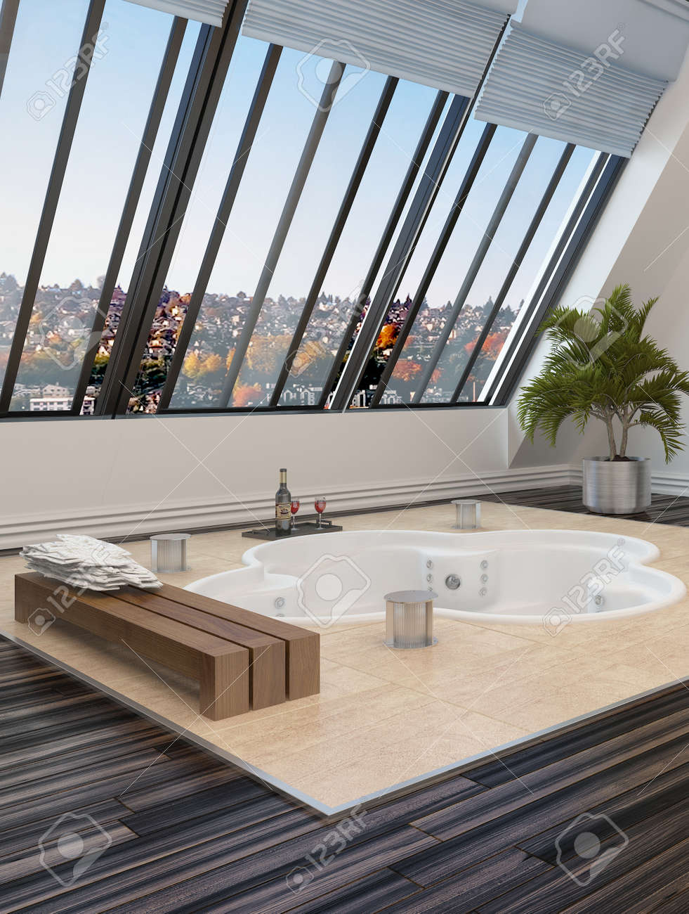 sunken trefoil shaped hot tub or spa bath in a modern bathroom overlooked by large sloping