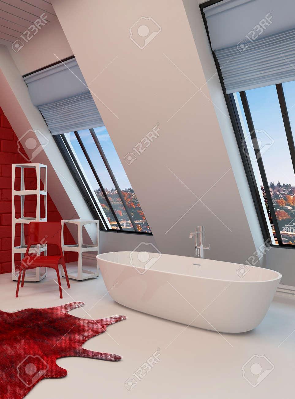 Salle De Bain Rouge Et Blanc intérieur dramatique spacieuse salle de bain rouge et blanc avec une  baignoire autoportante, la paroi inclinée avec des fenêtres de vue