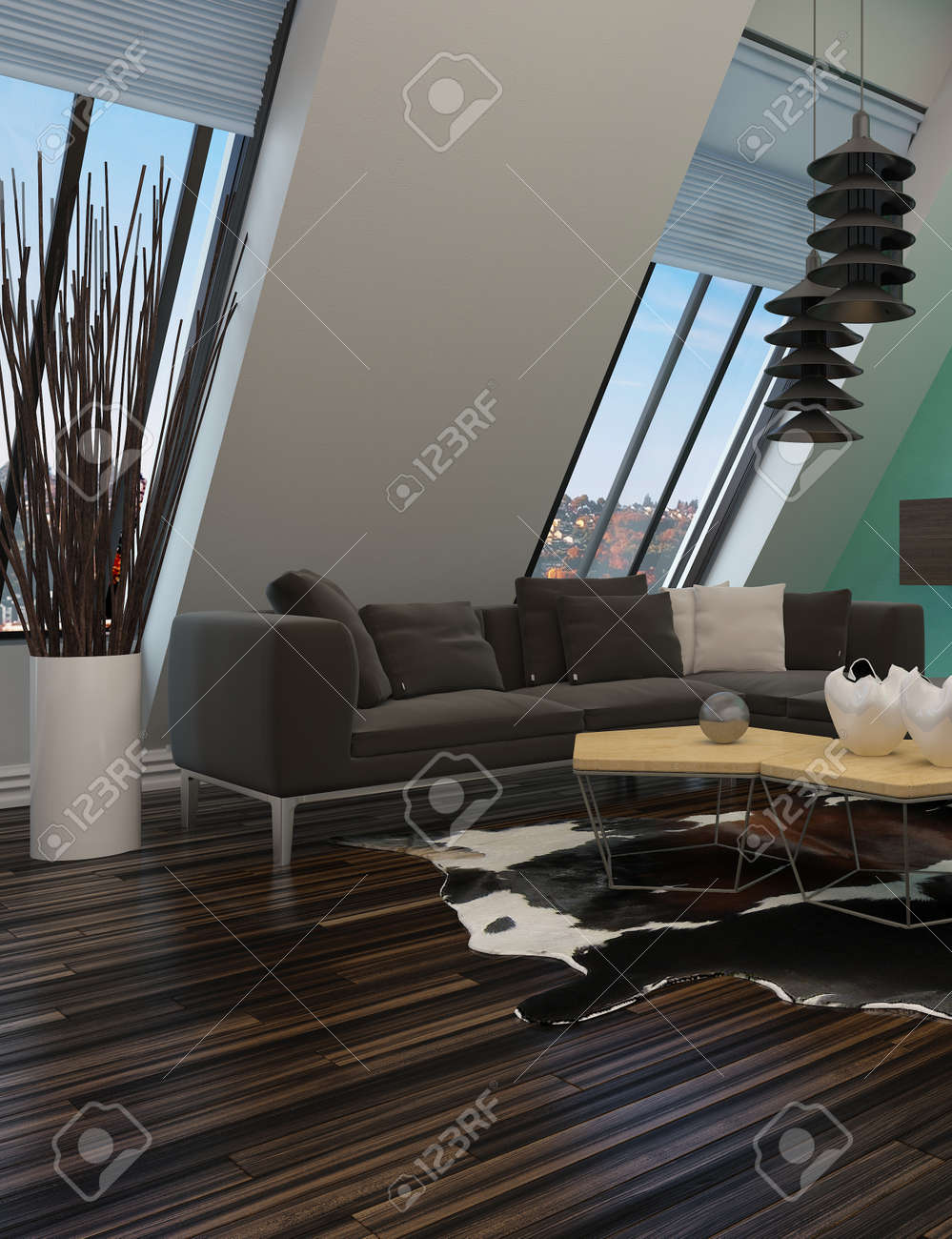 Modern Sitting Room Interior Decor With A Sloping Wall Windows Contemporary Lounge Suite And