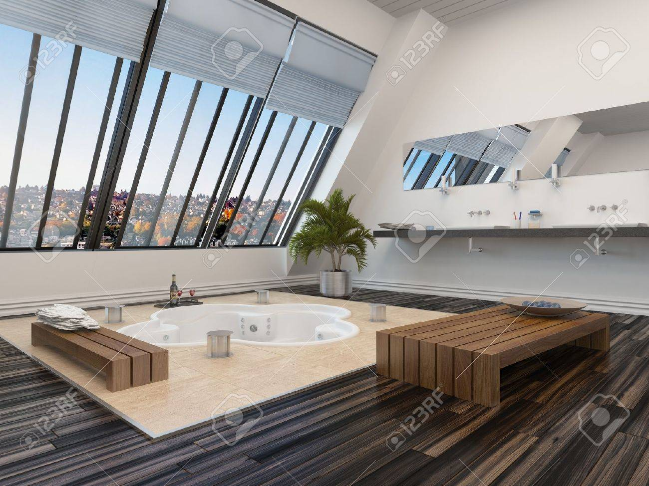 Aquarine Salle De Bain ~ int rieur de salle de bains moderne avec une baignoire encastr e spa