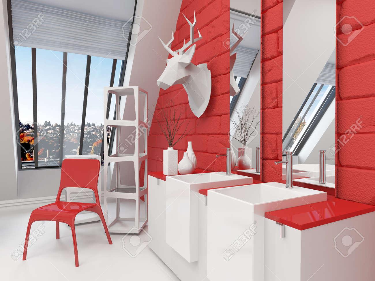 Salle De Bain Rouge Et Blanc heurter l'intérieur rouge et blanc salle de bains dans une chambre en pente  avec une tête de cerf monté sur le mur, peau d'animal sur le sol et meuble