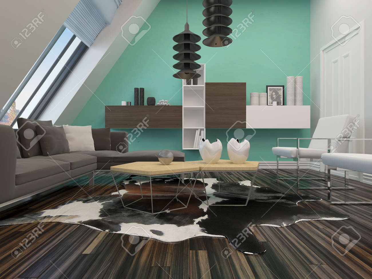 Modern Sitting Room Interior Decor With A Sloping Wall With Windows, Contemporary  Lounge Suite And