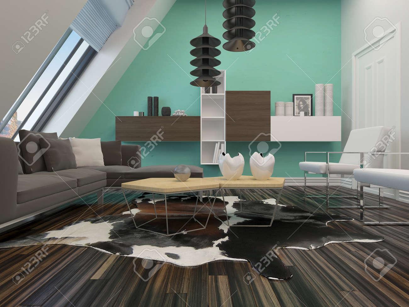 Salon moderne décoration intérieure avec un mur en pente avec des fenêtres,  suite salon contemporain et l\'éclairage, parquet et les unités murales ...