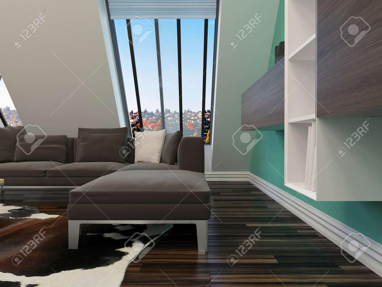 Moderne woonkamer interieur met een schuine wand met ramen ...