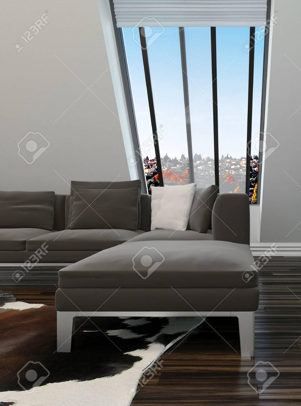 Salon Moderne Decoration Interieure Avec Un Mur En Pente Avec Des Fenetres Suite Salon Contemporain Et Du Parquet