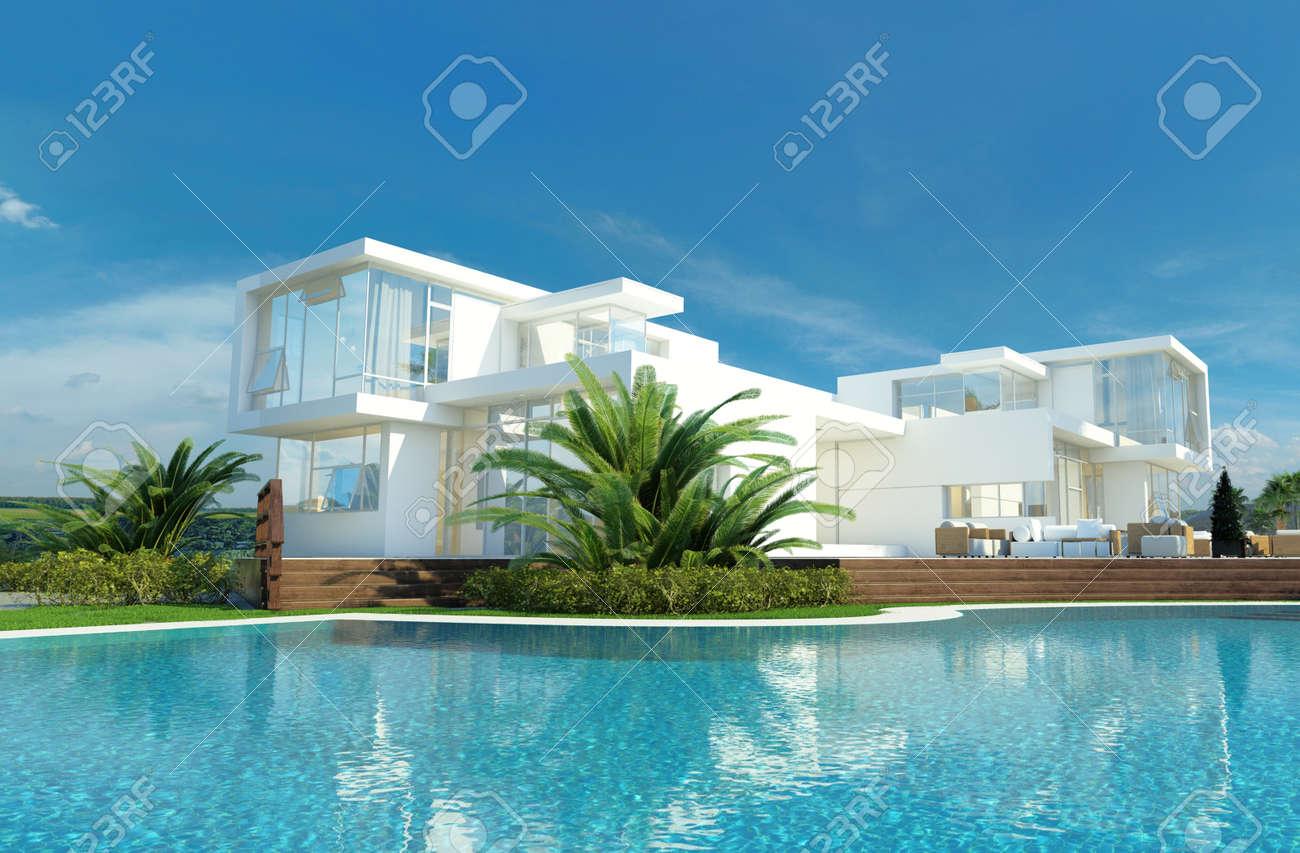 Luxe Moderne Maison Blanche Avec Des Murs Angulaires Et De Grandes