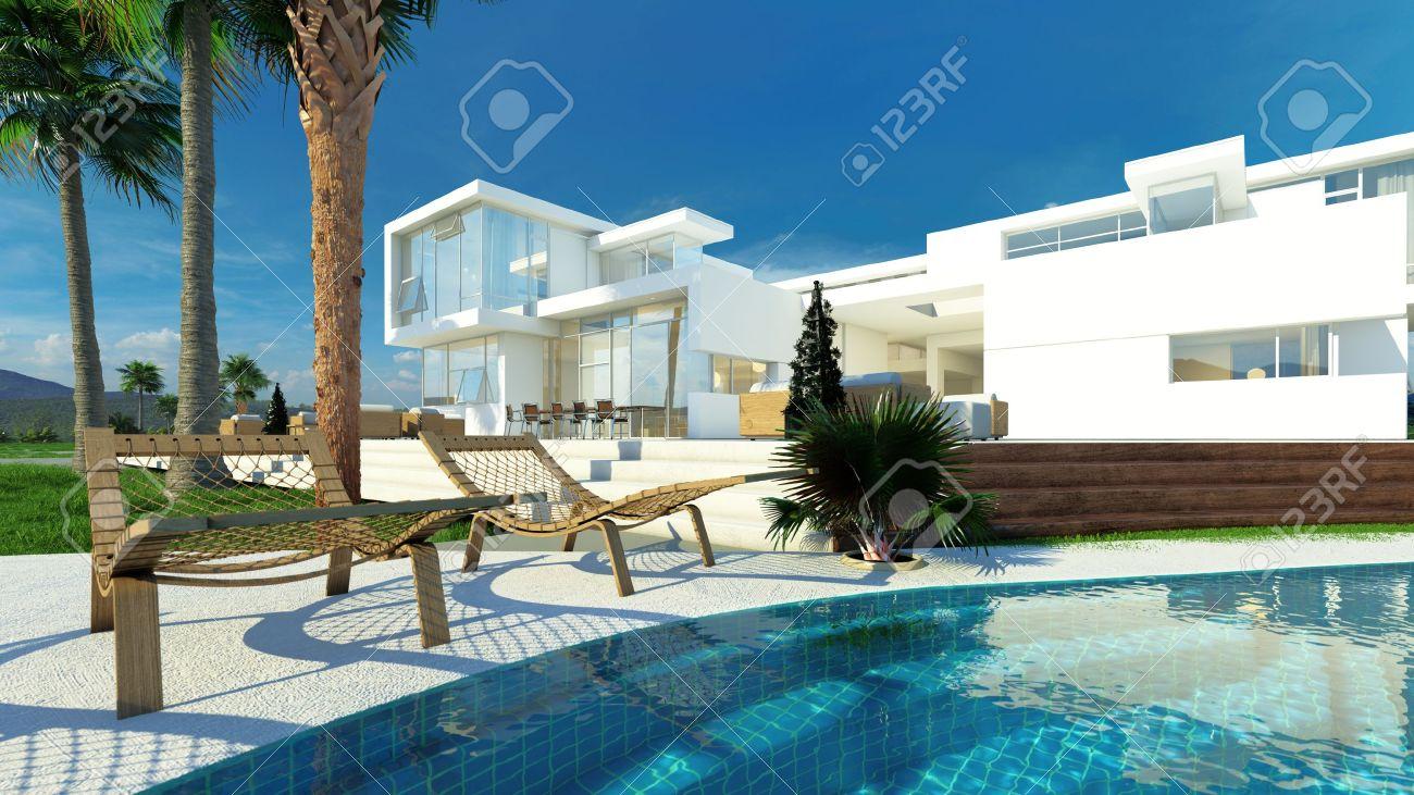 Luxe moderne maison blanche avec des murs angulaires et de grandes ...