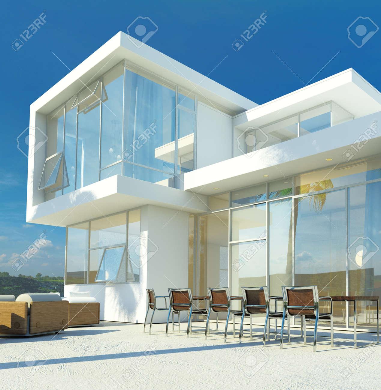 Luxe Moderne Blanchi à La Chaux Villa Tropicale Angulaire Avec De ...