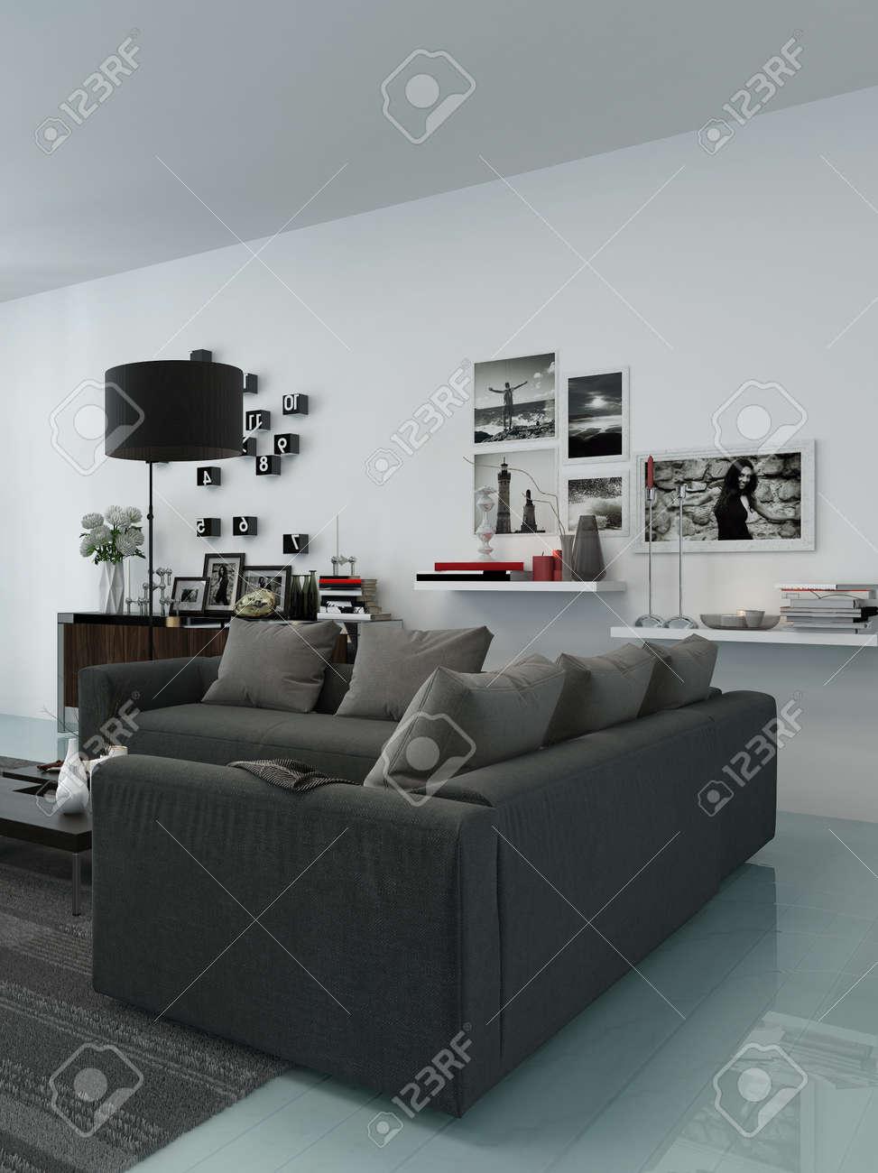 Moderne Wohnzimmer Innenraum Mit Bequemen Polstersitzgruppe, Zimmerpflanzen  Und Schöne Dekorationen Standard Bild   28780079