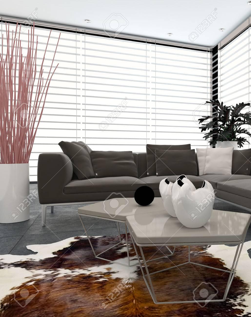 Moderne Wohnzimmer Innenraum Mit Großen Fenstern, Die Zwei Wände ...