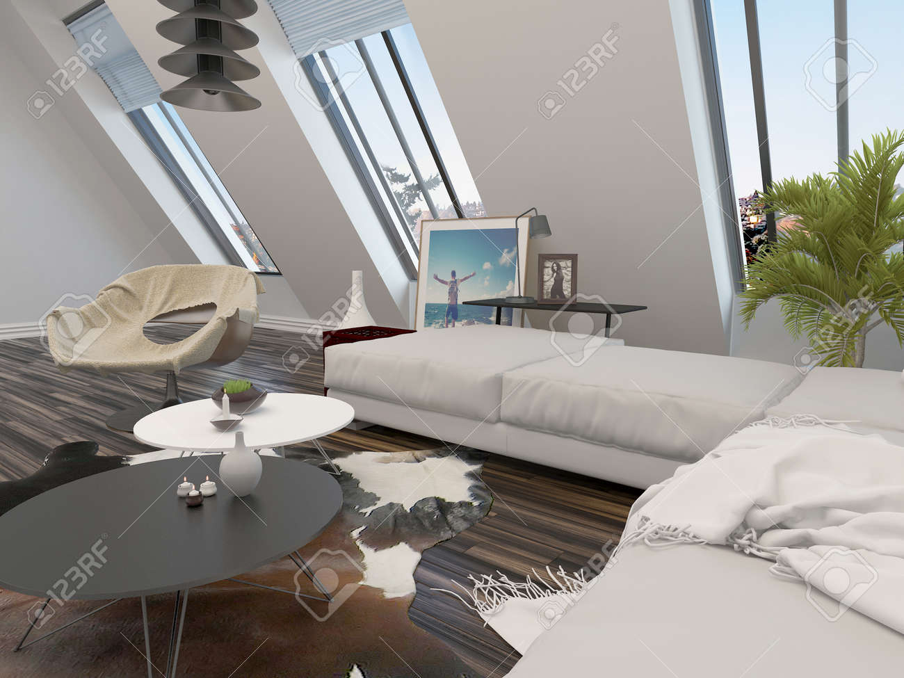Bright Airy Modern Living Room Interior With A Cream Modular Corner Lounge Suite And Large Sloping