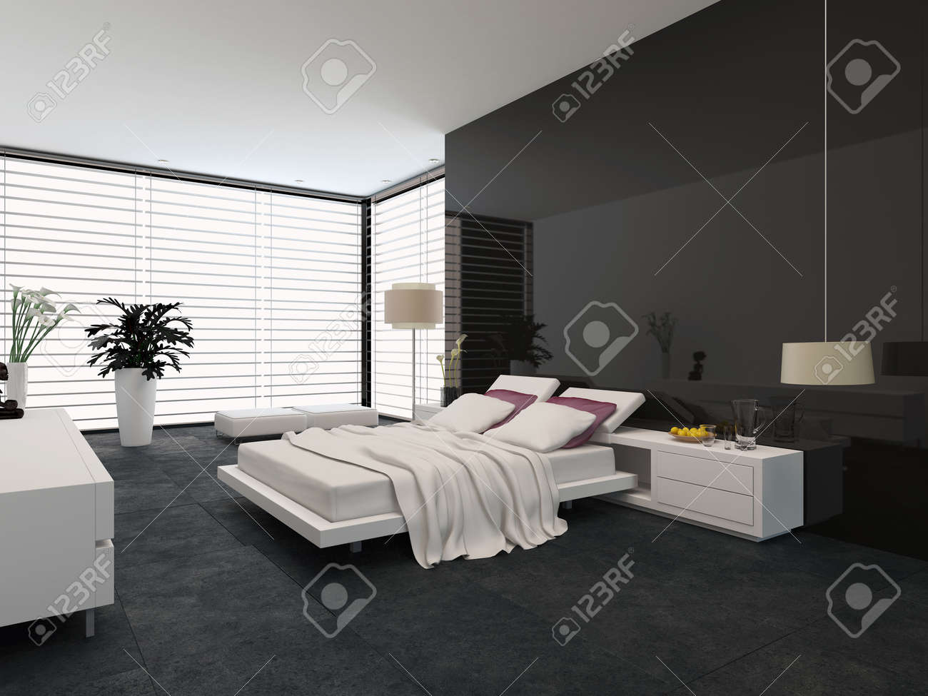 Modern Bedroom Blinds Spacious Modern Bedroom With An Adjustable Double Bed Large