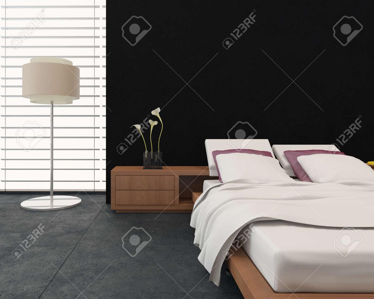 Moderna sovrum inredning med en terapeutisk ställbar säng ...