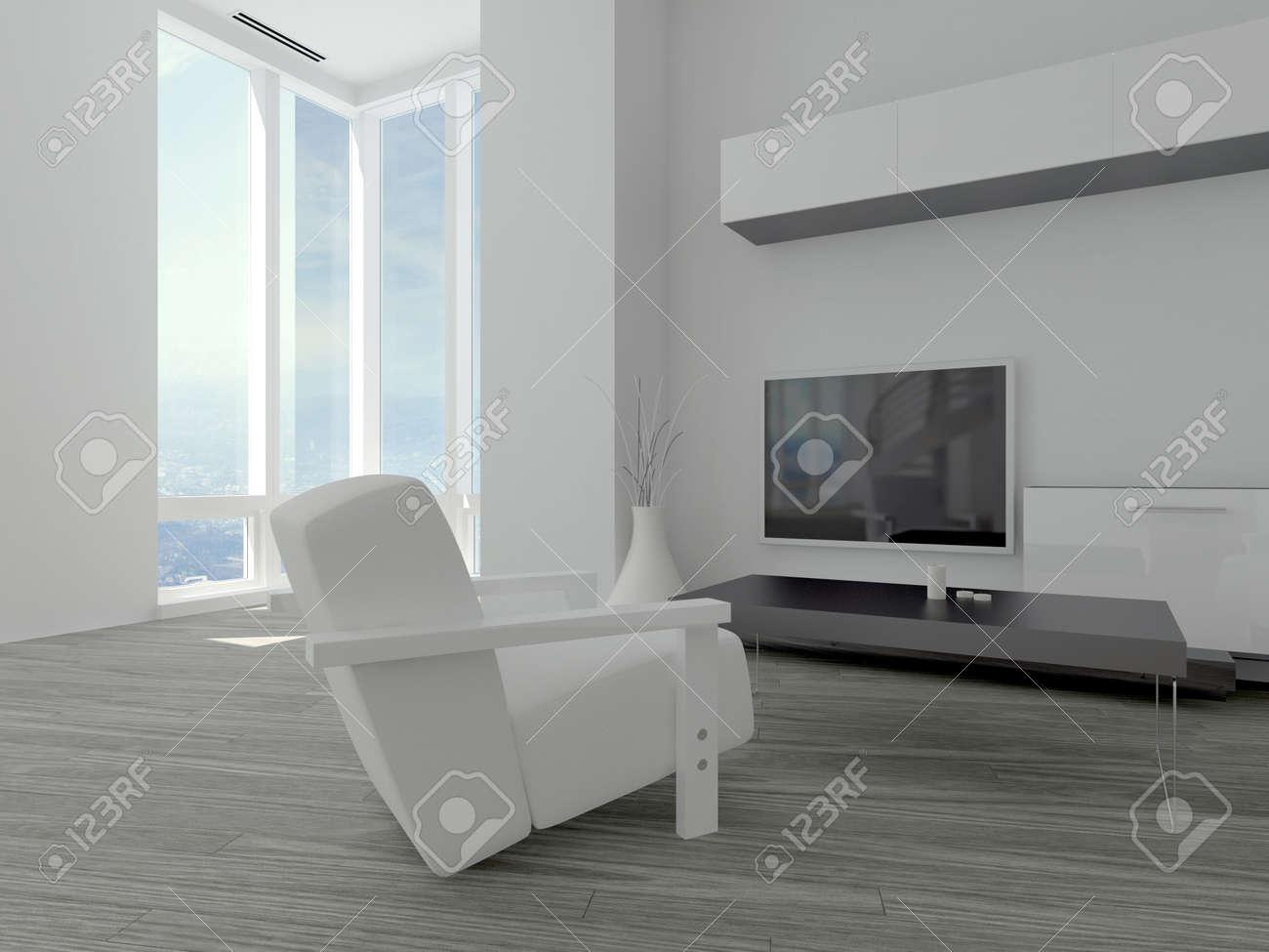 Moderne Minimalistische Wohnzimmer Mit Weißen Sessel Auf Einem Parkettboden  Vor Einer Wand Montiert Fernseher Und Bodenlange