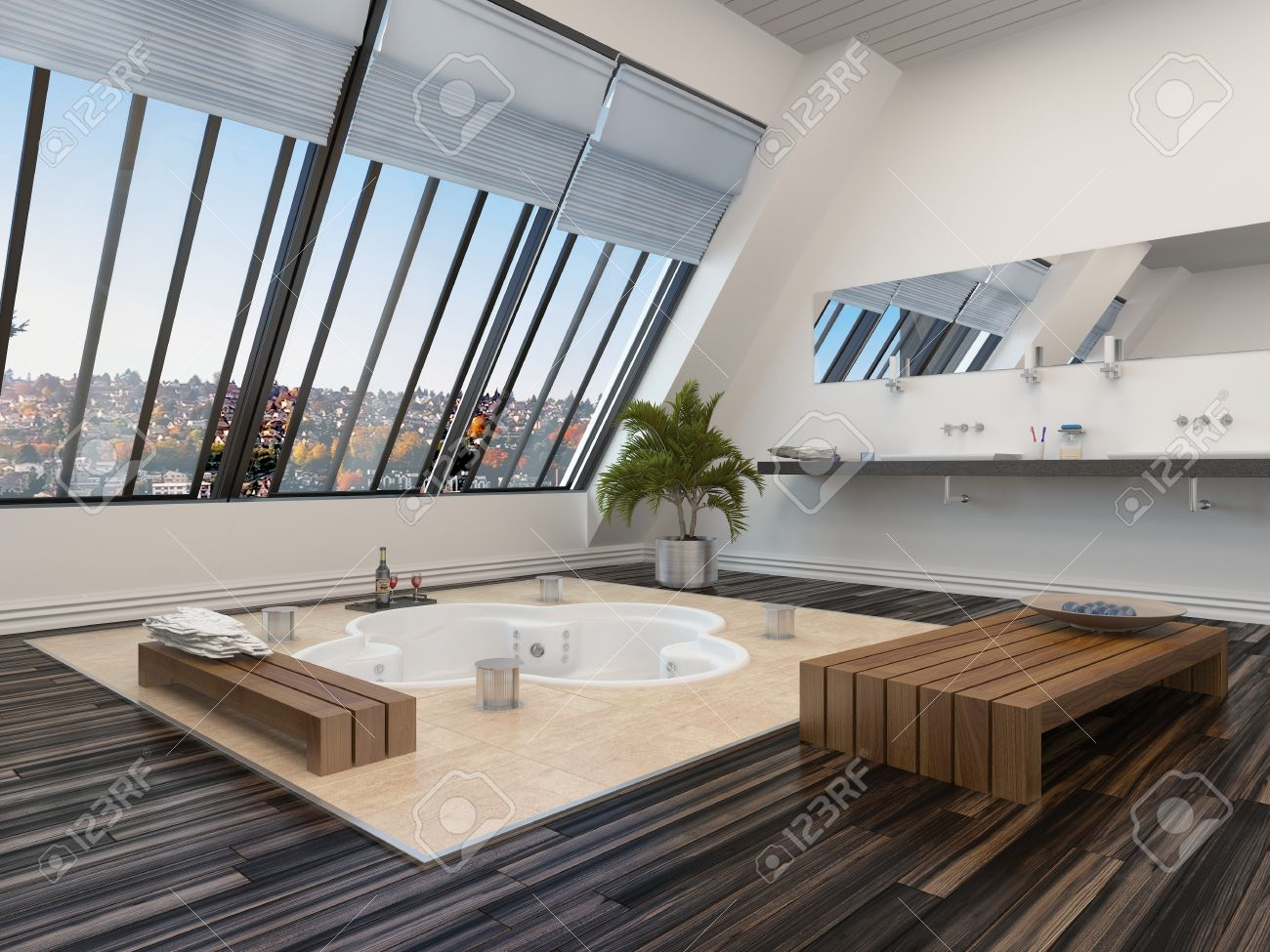 Modernes Badezimmer Innenraum Mit Einem Eingelassenen Whirlpool In Einem  Parkettboden Und Panoramafenster Schrägen Blick Hinunter Eine