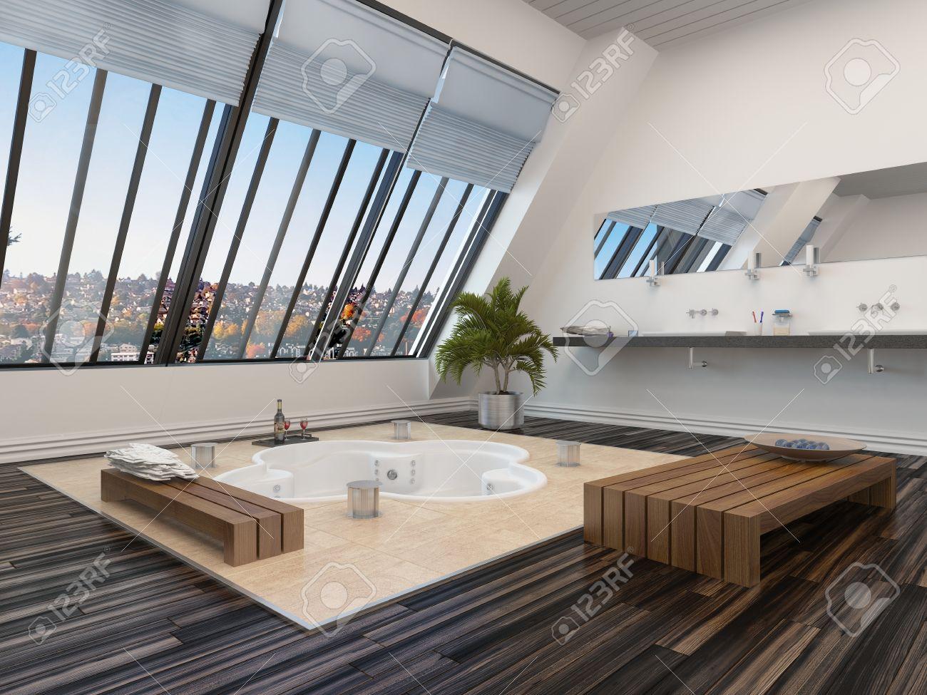 moderno bagno interno con vasca idromassaggio incassata in un ... - Bagni Moderni Con Vasca Idromassaggio