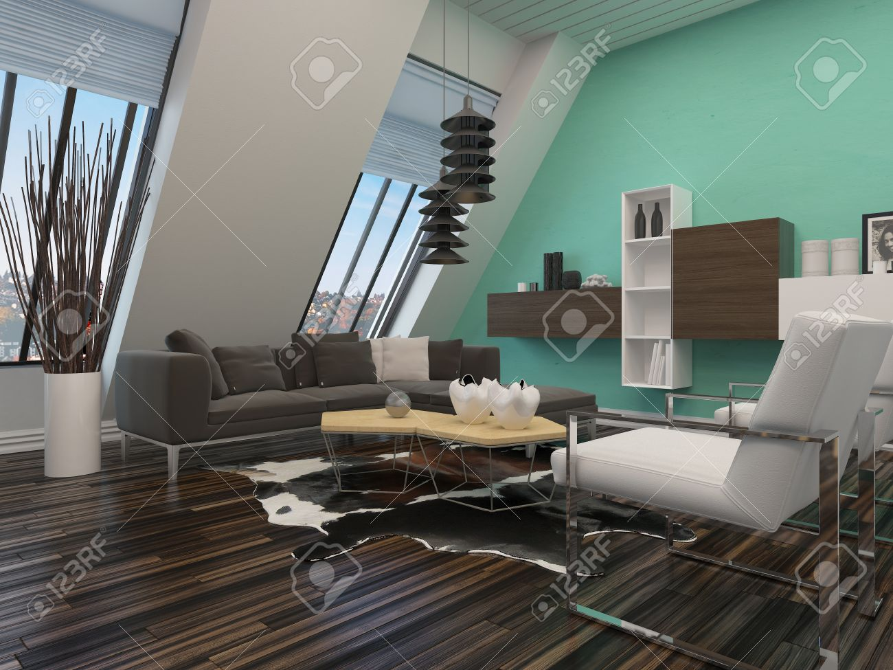 Salon Moderne Décoration Intérieure D\'un Mur En Pente Avec Des ...