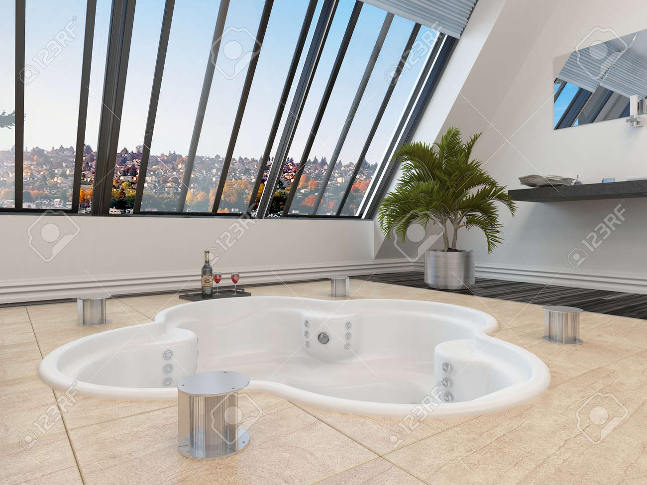 Sunken Trefoil Shaped Hot Tub Or Spa Bath In A Modern Bathroom ...