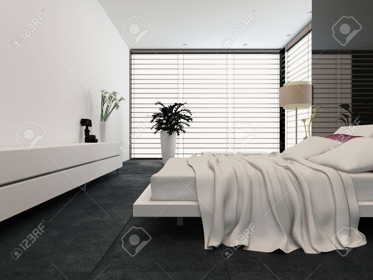 Genial Spacious Modern Bedroom With An Adjustable Double Bed, Large Wrap Around  View Window With Blinds