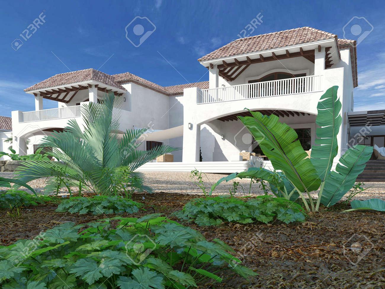 mediterraner stil garten, außenansicht des luxuriösen weißen villa im mediterranen stil mit, Design ideen