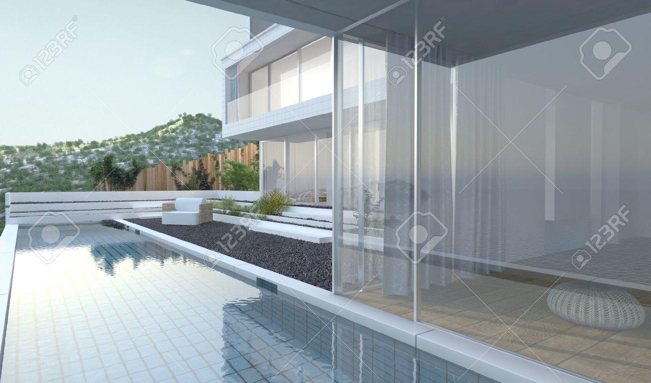 Maison Moderne De Luxe Avec Vue Panoramique Fenêtres De Vue Donnant ...