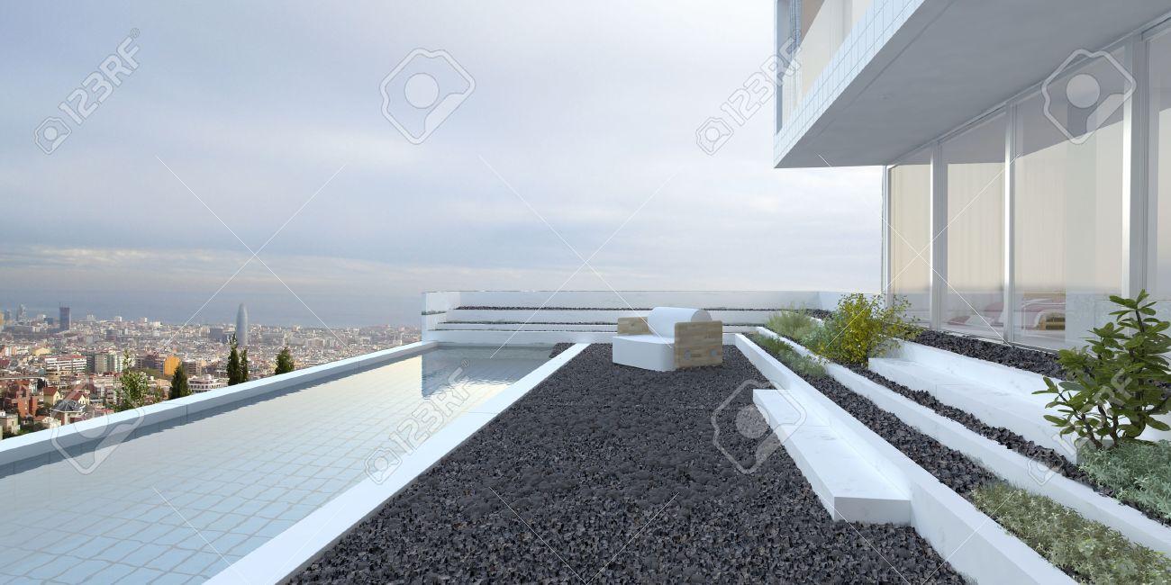 Moderne maison de luxe avec vue panoramique fenêtres de vue ...